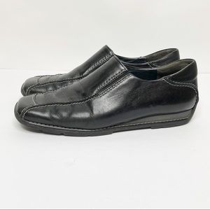 Paul Green Black Leather Square Toe Loafer